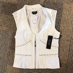 Bebe Leather Studded Vest